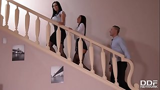 A Maid's Desire: Sole Fetish Threesome With 2 Long-legged Honies