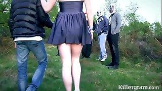 Submissive slut gf in public gang-bang