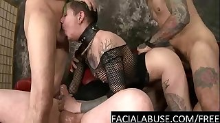 Extreme butt-cheeks 4some for tatted slut