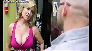 Superb busty cougar fucked hard
