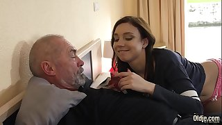 Kinky grandpa fucks young chick gonzo and she sucks his cock before swallowing the cumshot