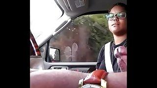 Car shaft flash she touching!