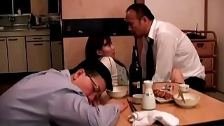 Japanese wife fucked next to spouse