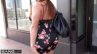 MILF Miss Raquel flashes her big tits and pussy in public