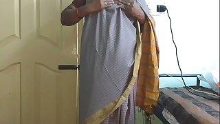 desi  indian tamil telugu kannada malayalam hindi horny cheating wife vanitha wearing grey colour saree  showing huge boobs and shaved beaver press hard boobs press nip caressing beaver masturbation