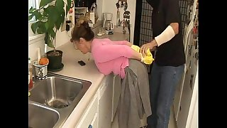 Milf Tied In kitchen and force fucked by plumber--- More at   www.ImLivex.com
