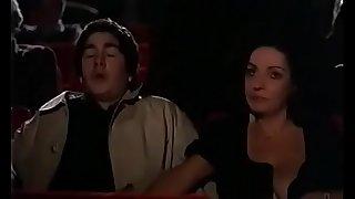 Milf milks off youthfull man at the theater