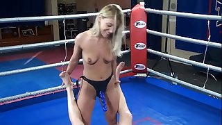 Nikky Thorne vs. Peter - bare erotic mixed wrestling humiliation strapon